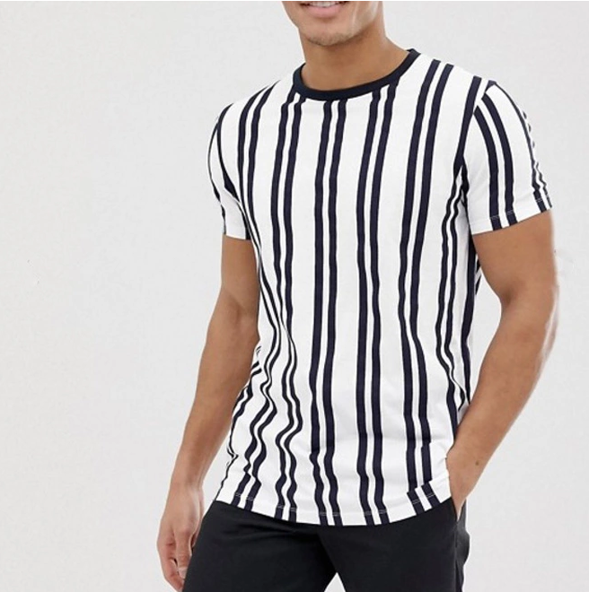 OEM custom color block t shirt men with multicolor stripes o-neck short sleeves t shirts for men