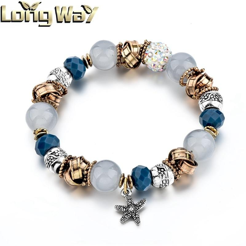 Wholesale fashion jewelry stone beads mix metal beads womens bracelet