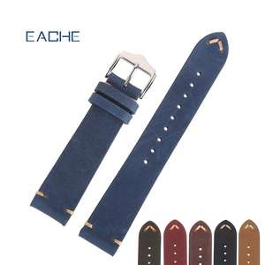 EACHE Wholesale Handmade Crazy Horse Genuine Leather Watchband 18mm 20mm 22mm Watch strap