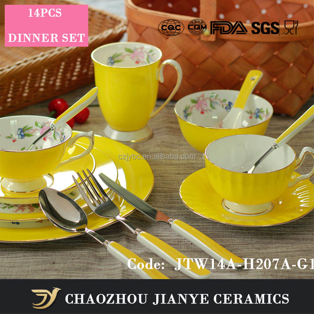 Yellow Color With Flower Fine Bone China Dinner Sets Ceramic Dinnerware Sets With 14Piece