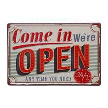 Wholesale 8x12 Inches Come in We are Open Vintage Retro Wall Art Blank Metal Tin Sign