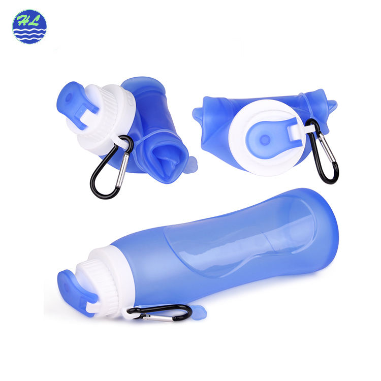 Wholesale FDA certificate sport drinking outdoor 500ml drink sports foldable silicone collapsible bottle