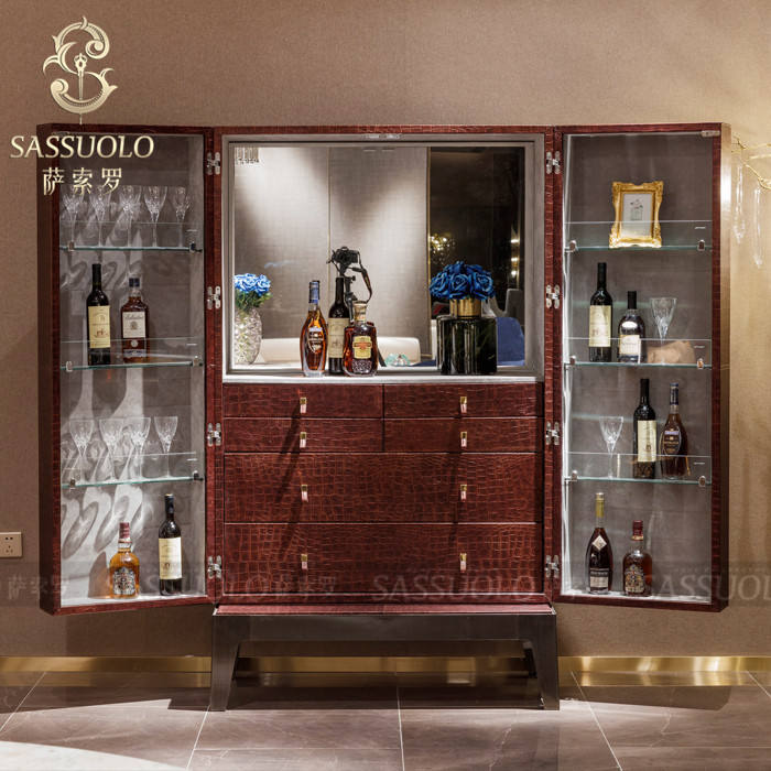 Sassuolo best selling product special style home furniture cabinet living cabinet Red leather color wine cupboard