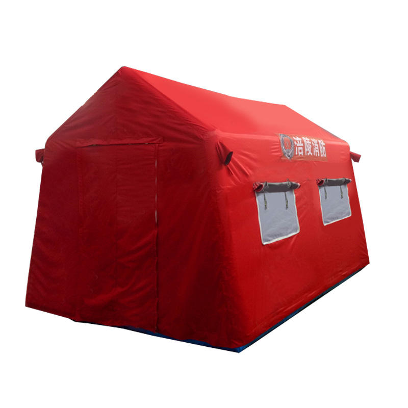 Red color waterproof Oxford and PVC material inflatable red cross medical relief tent for sale