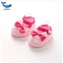 YWDZ0002 HAOXUAN Service Supremacy New Born Shoe Hand Crochet Knit Booties Knitting Baby Shoes