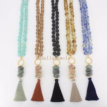 N17061507 Beautiful Clear Crystal Beaded Necklace Natural Stone Nugget Charm With Tassel Pendant Necklace