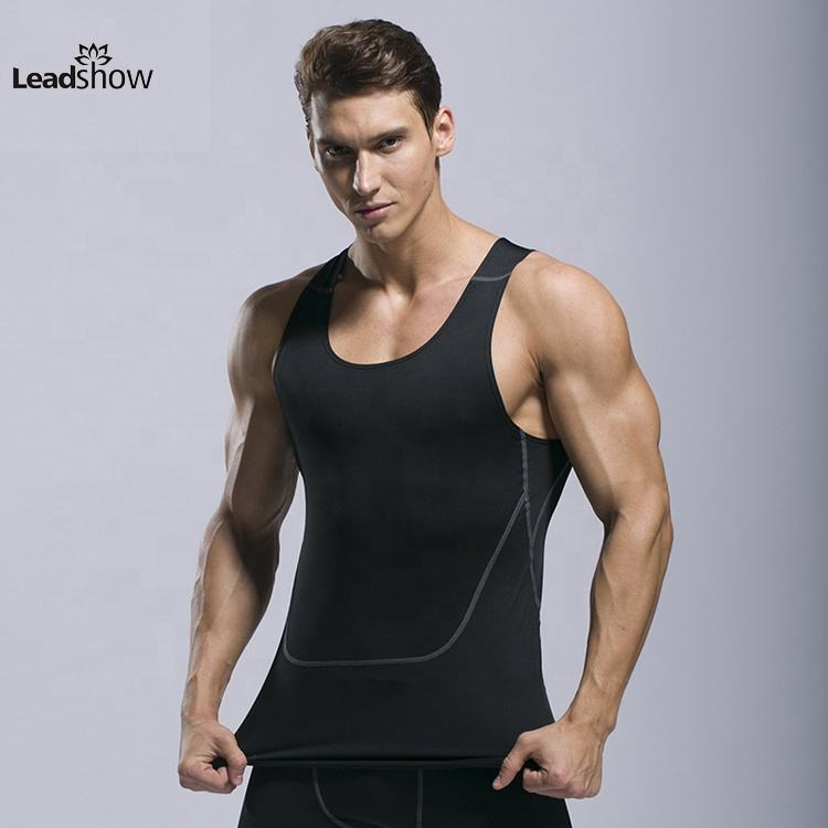 Men's top wear gym bodysuit tops sweater sports dri vest blank sleeveless t-shirt compression fit shirt men