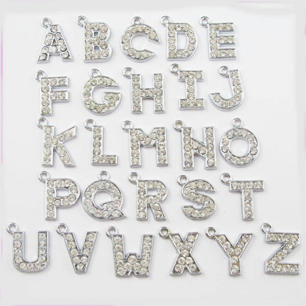 JFL1019 15mm Bling Rhinestone crystal alphabet initial letters charms,letter pendant charms
