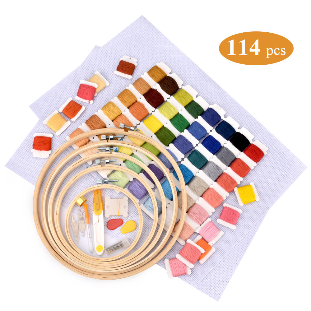 Embroidery Stitching Punch Needle with Embroidered Patterns Punch Set Embroidery for Threader DIY Sewing with 60 Colors