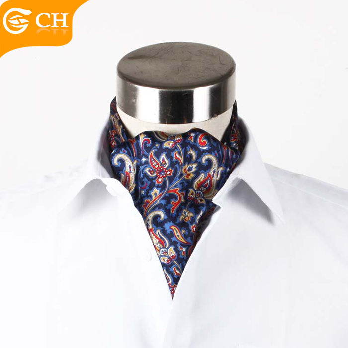 Wholesale High Quality Retro Double Sided Silk Mens Ascot Tie Cravat