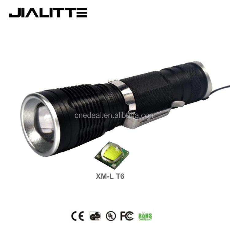 Jialitte F039 Paduan Aluminium Crees T6 LED Zoomable Obor Portable Berburu Tahan Air LED Flashlight