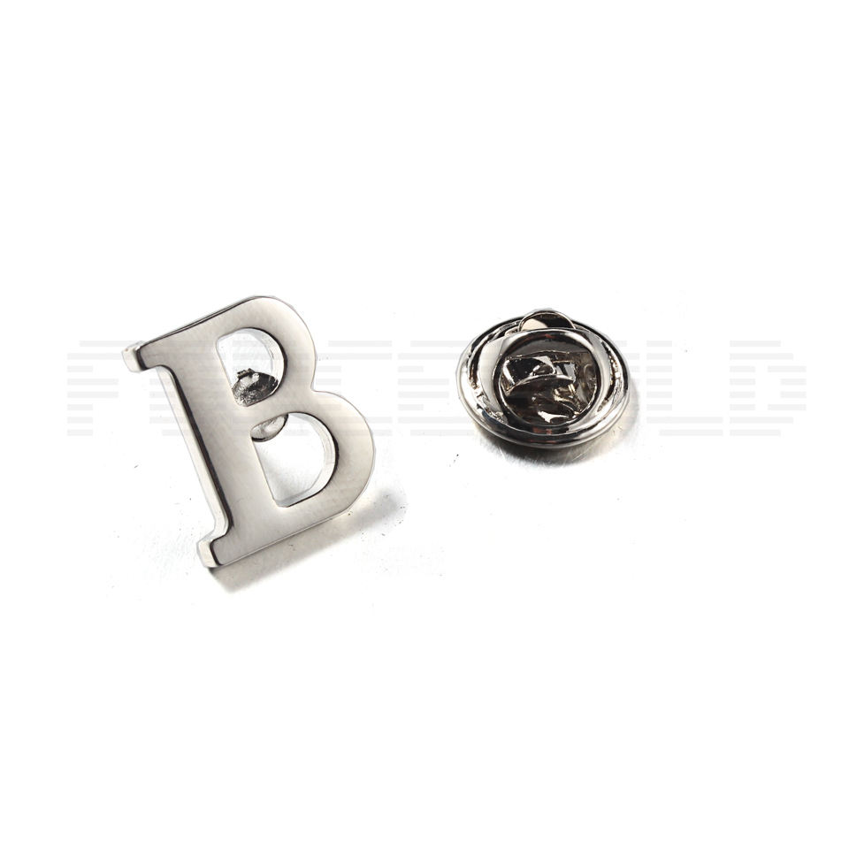 Silver Letter B Design Stainless Steel <span class=keywords><strong>브로치</strong></span> 와 핀