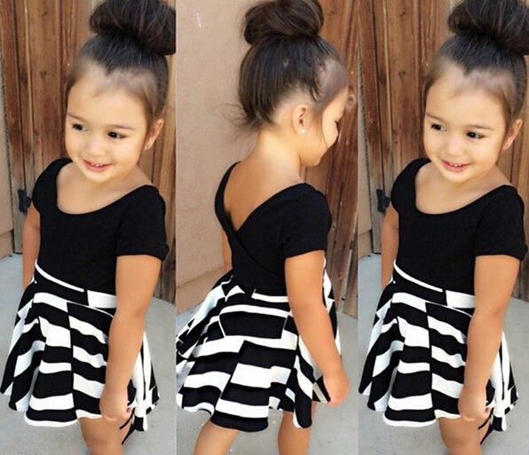 Fashion new hot selling girl black short sleeve striped skirt two pieces sets kids 2019 summer clothes