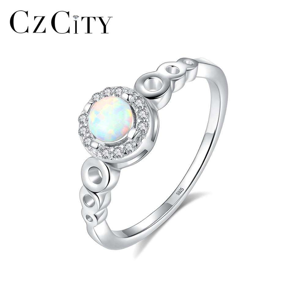CZCITY Opal Engagement Wedding Ring 925 Silver Tiny CZ around Round Plate Women Rings