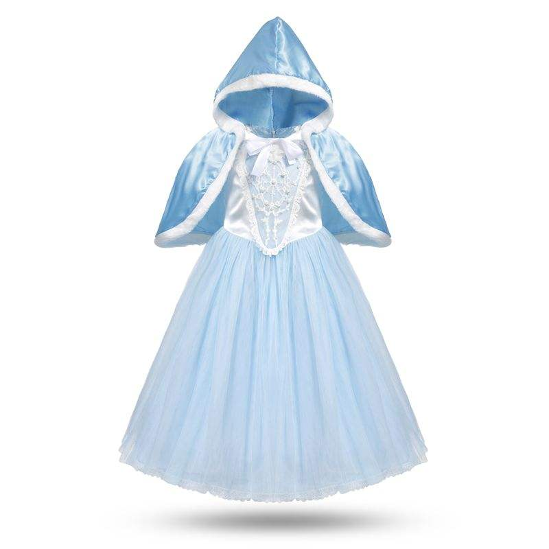 Girls Cinderella Cosplay Costume Children Flower Beading Princess Party Dresses Kids Girl Christmas Fantasy with Cloak