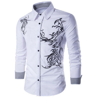 Ecoparty Men Shirts Long Sleeve Male Business Casual Printed Fashion Formal Shirts Size M-3XL