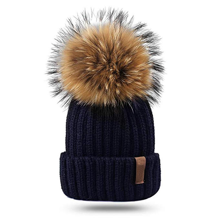 Custom Kids Winter Pom Beanie Hat Unisex Parent Child Knit Hats Women Adult Fur Pom Winter Beanies