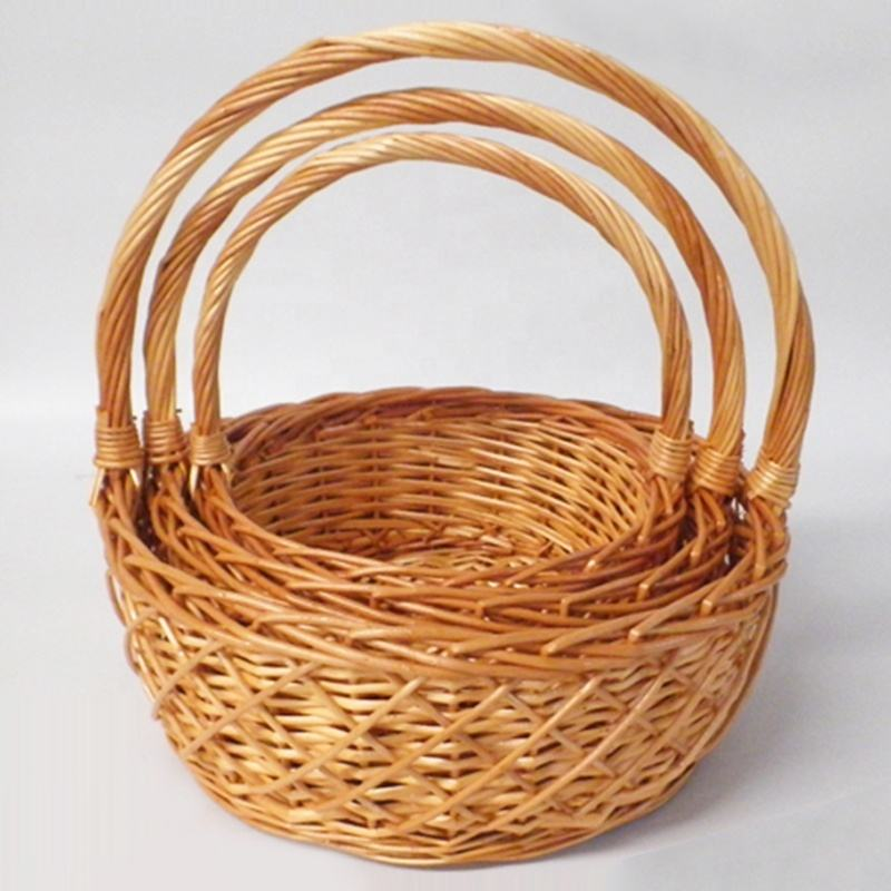 Honey Color Round Willow Baskets with Handle