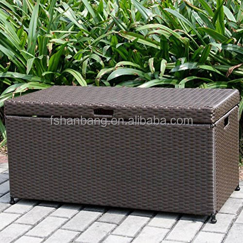 Wicker Patio Deck Pool Storage Box Chest Trunk Cushion Pillow Toy Bin Poolside Storing