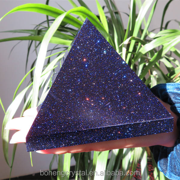 Top Grade Natural Blue Gold Sand Stone Egypt Crystal Pyramid 80mm