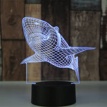 3D Shark Illusion Light 7 Colors Changing Table Desk Deco Lamp Bedroom Children Room Decorative Night Light