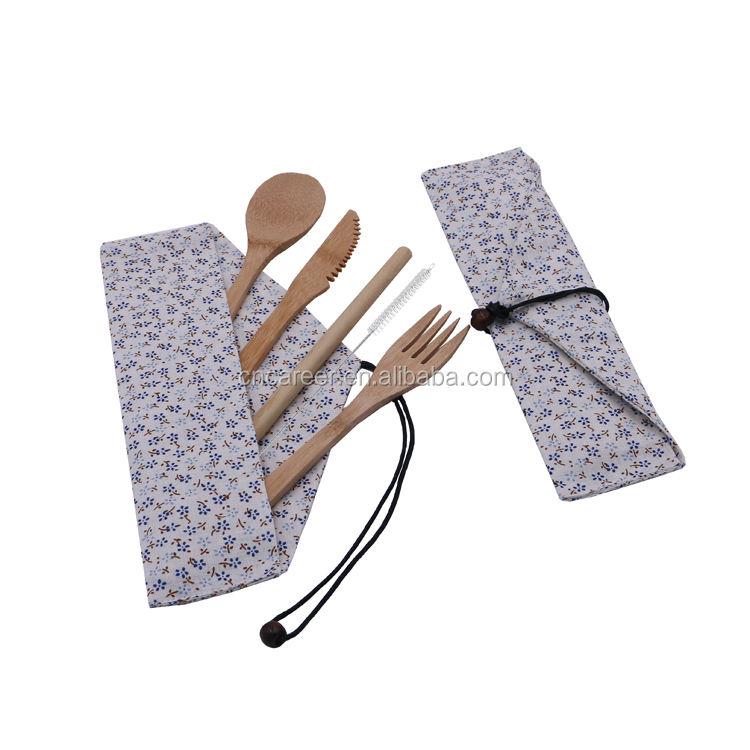 Viagem portátil de bambu eco friendly garfo faca colher conjunto colher faca garfo combinação colher de madeira faca garfo
