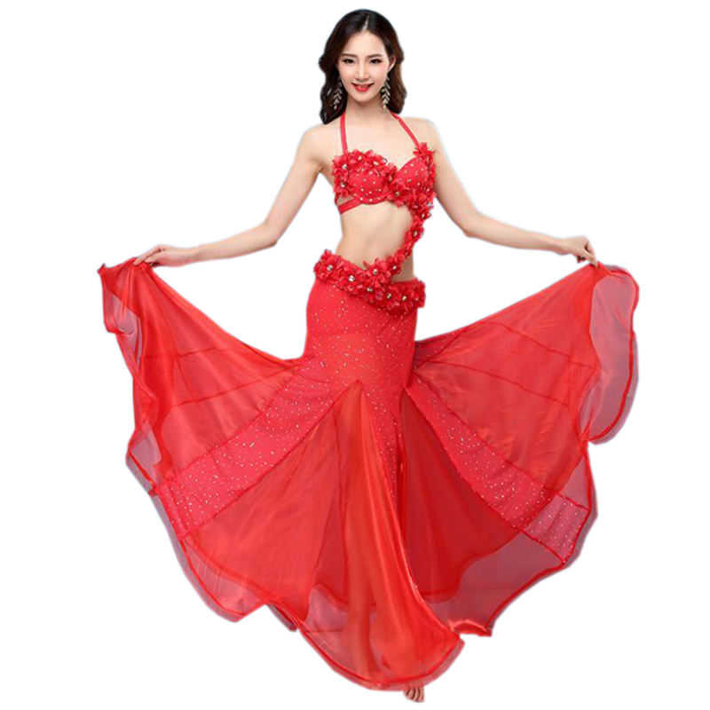 Professional women Belly dance bra and belt with flower use in performance Outfit