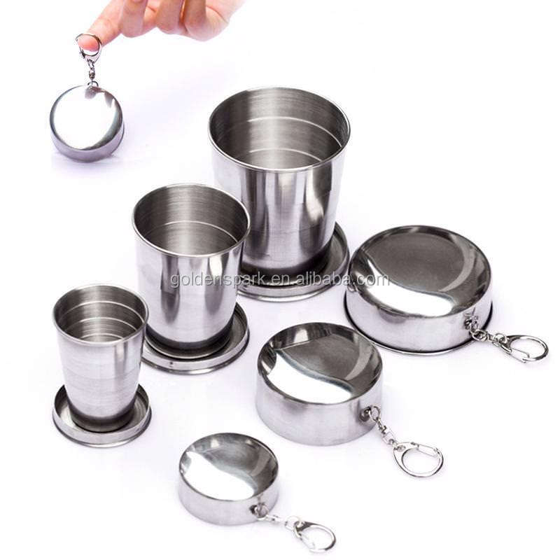Folding Cup Travel Stainless Steel Tool Kit Survival EDC Gear Outdoor Sports Mug