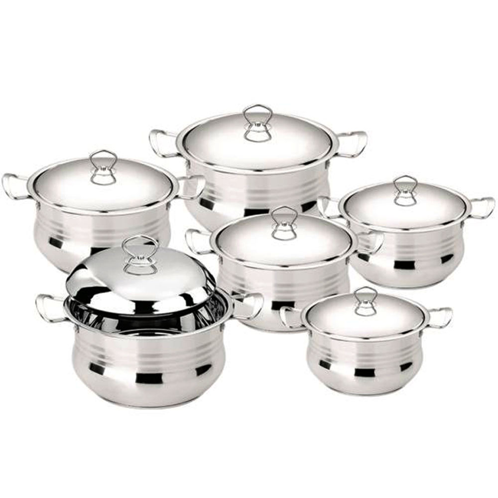 6pcs induction cookware heavy duty stainless steel cookware with steel lid