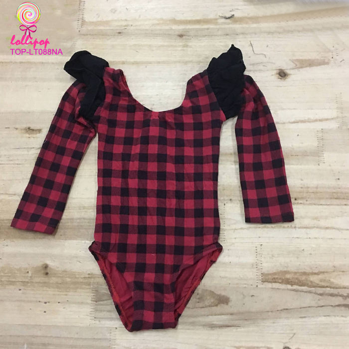 Kid training dance wear baby clothes wholesale girl ballet long flutter buffalo plaid leotard dancewear costumes