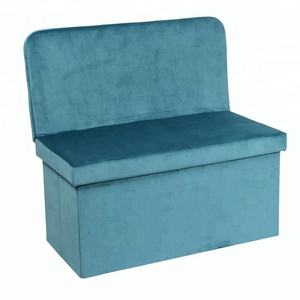 blue short floss folding storage bench chair with backrest