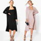 BANDEAU DRESS & DUSTER CO-ORD SET, Sleeveless Bodycon Dress And Blazer No Zipper Jacket Cardigan Suits