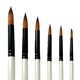 6 Pcs Pearl White Wooden Handle Round Nylon Hair Watercolor Acrylic Paint Artists Painting Brush Set
