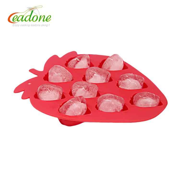 100% Qualité Alimentaire Silicone Mini Silicone Ice cube Tray Moules/bac à glaçons fraise forme