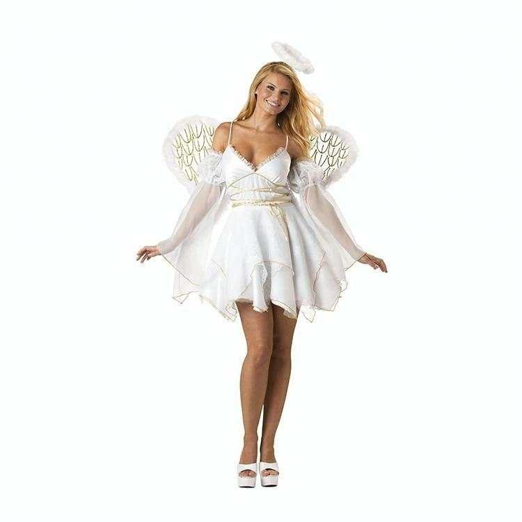 Adult Halloween cosplay party white angel costume with halo