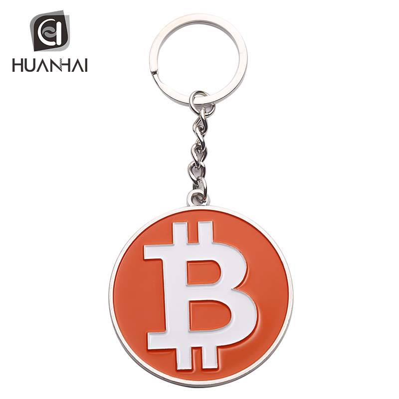 wholesale zinc alloy casting silver plated enamel orange metal bitcoin keychain