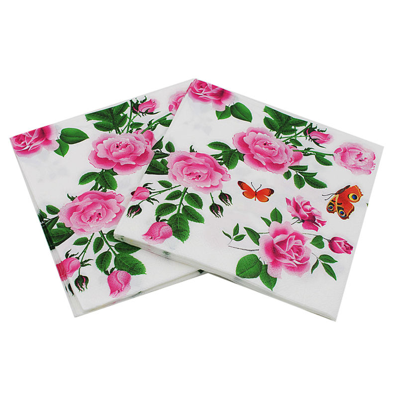 Floral Paper Napkins Flower Festive & Party Tissue Napkins Decoupage Decoration Paper 33*33cm