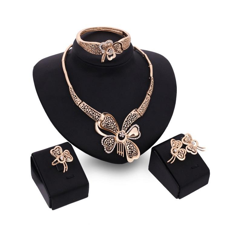 New Trendy Women African Fashion Jewelry Sets Statement Saudi Dubai Gold Crystal Exaggerate Flower Wedding Bridal Jewelry Set