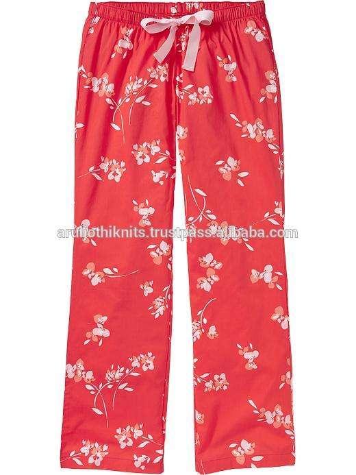 floral impreso de popelín de algodón pantalón de pijama para las mujeres