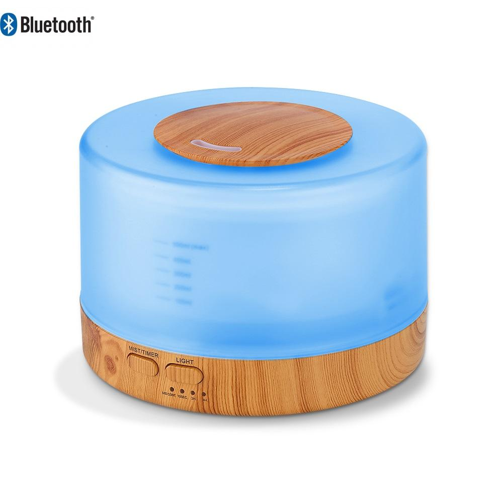 500ml Bluetooth ultrasonic aromatherapy essential oil aroma diffuser wood grain base with built in BT speaker