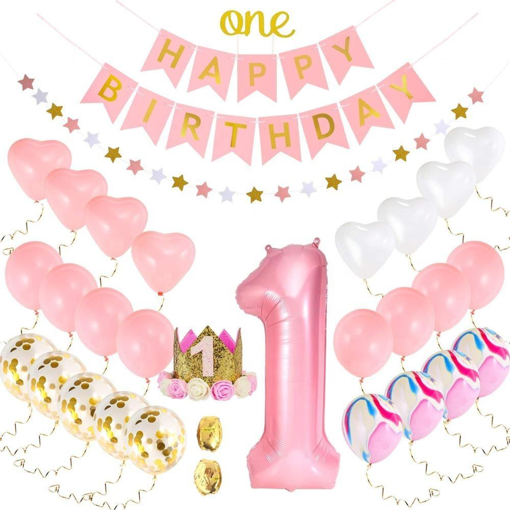 1st Birthday Supplies Pink Number 1 Balloon Banner Kids Tiara Crown One Cake Topper Happy Birthday Party Favors Decoration