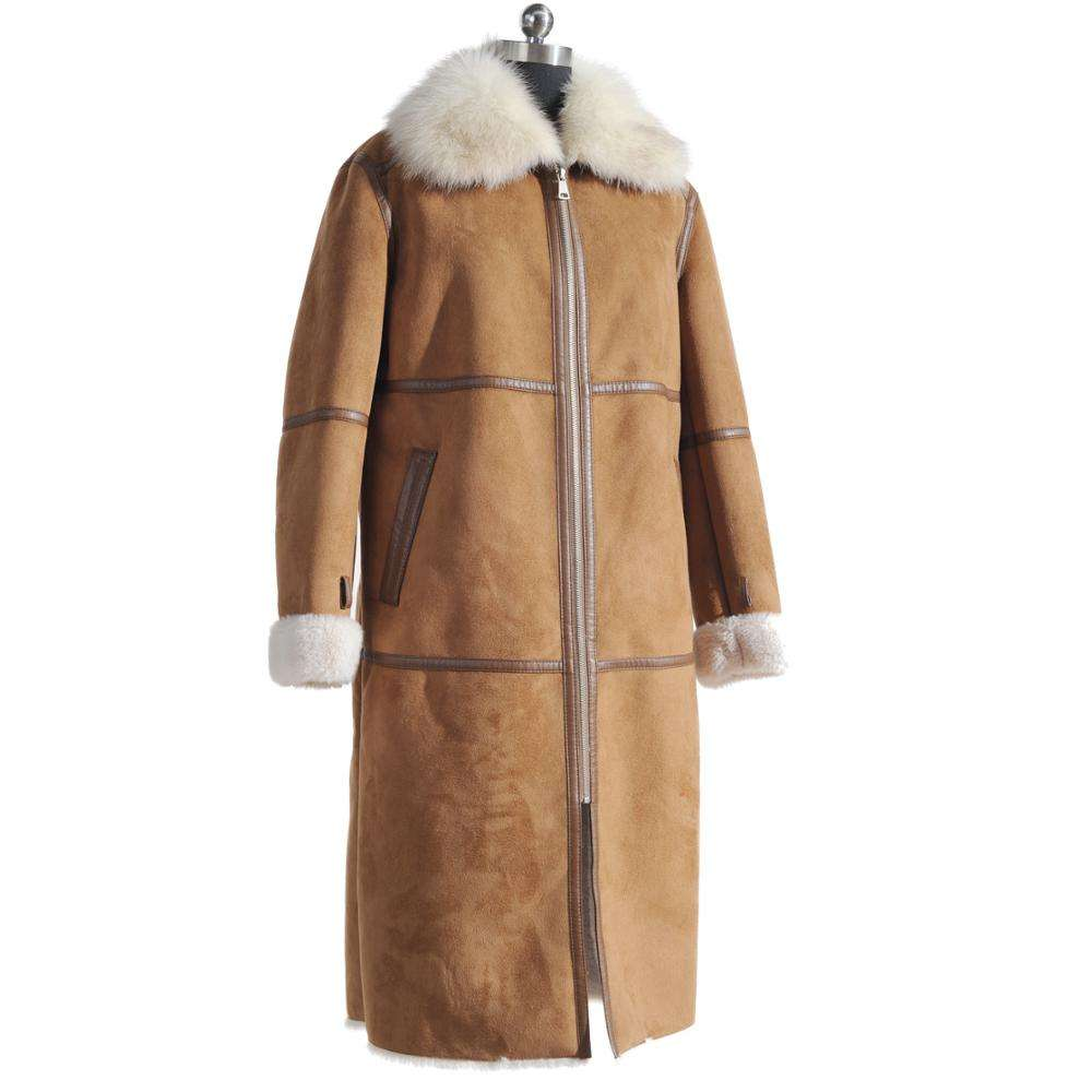 Hot sale winter warmth brown long fake rabbit fur coat with real fox fur collar