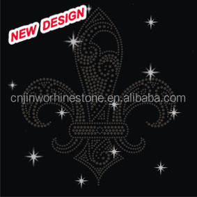Hot-fix [ Crystals ] Bling Crystals Fleur De Lis Iron On Decals FY 12 23
