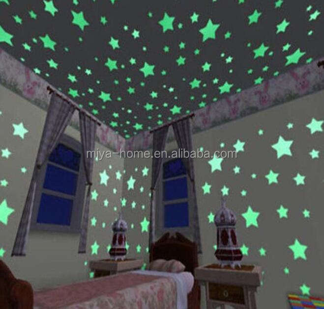 Hot sale100PCS Colorful Luminous Home Glow In The Dark Stars Wall Stickers / Decal for Kids Baby Rooms Fluorescent Sticker decor