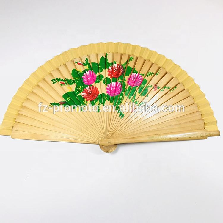 Double-Sided Lady Painting Hand Fan Wood Handle