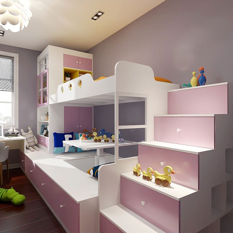 Environmentally Friendly Cabinets Design Kids Room Furniture Children Bunk Bed with Desk