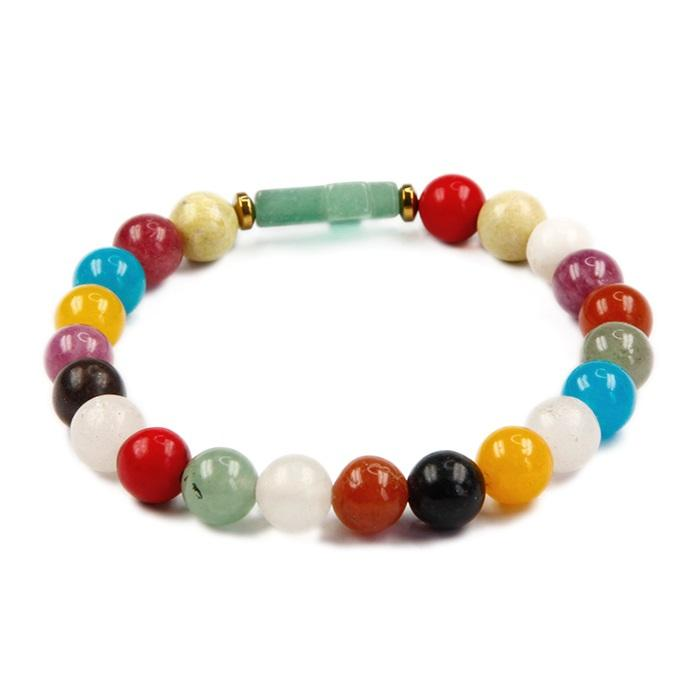 chakra healing stone beads bracelet 8mm stretchable elastic string bracelet with side aventurine cross