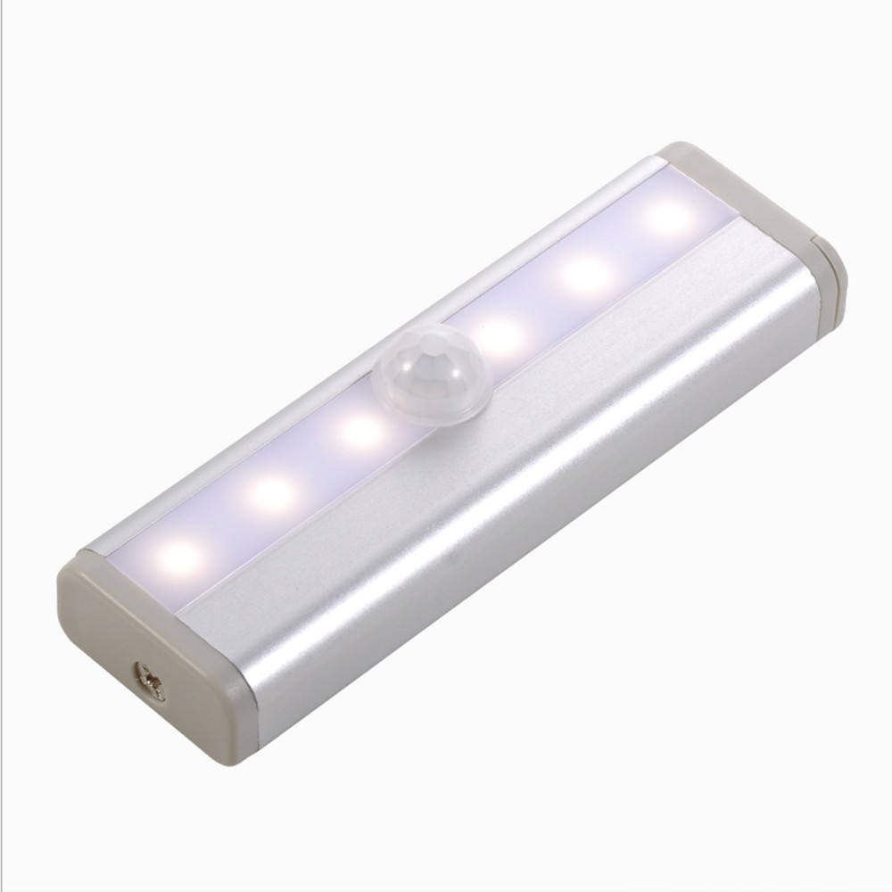 White Light Stick on Anywhere Portable 6 LED Mini Motion Sensor Night Light