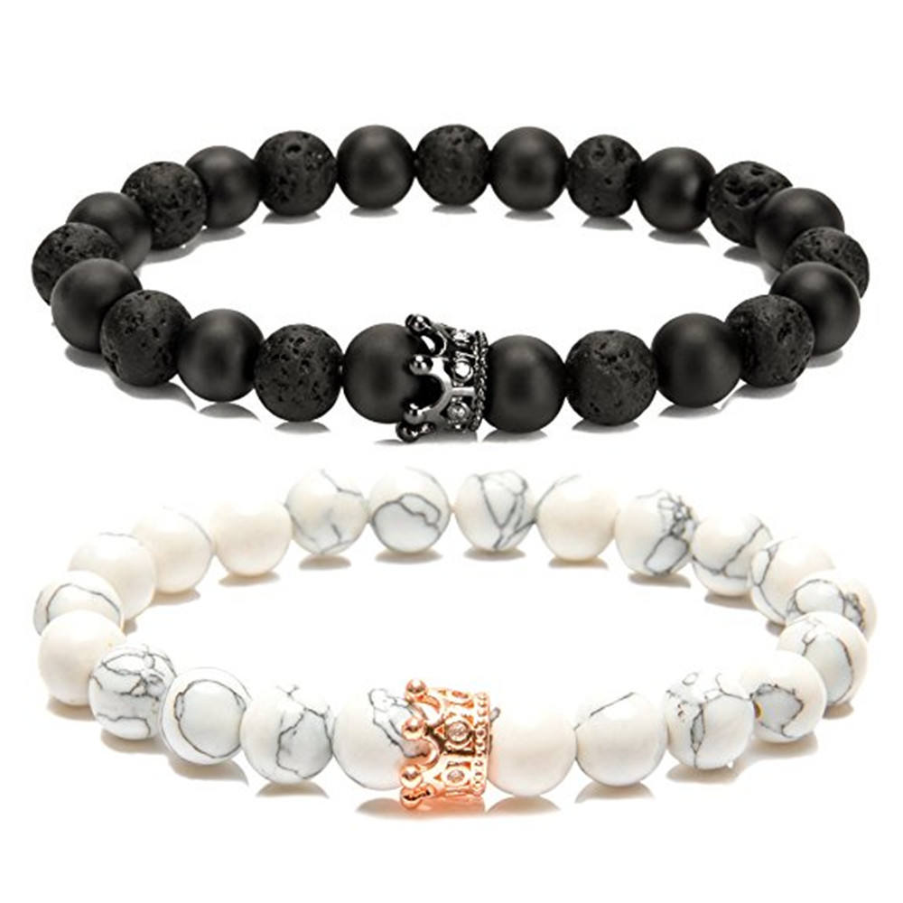 GWOOD Macrame Style 12mm Wide Black Onyx and Crystal Ball Bracelet 210