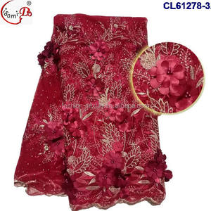 Wedding african red 3 d flower lace 2017 Top fashion Christmas lace high quality evening party dress